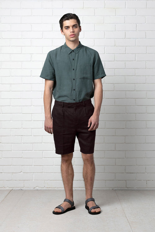 NAMIKO LINEN SHORT - CHOCOLATE