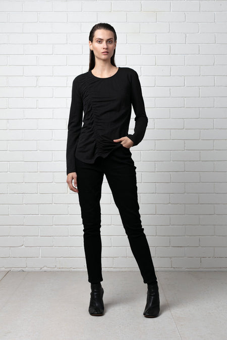 BLACK AKARI LEATHER TOP