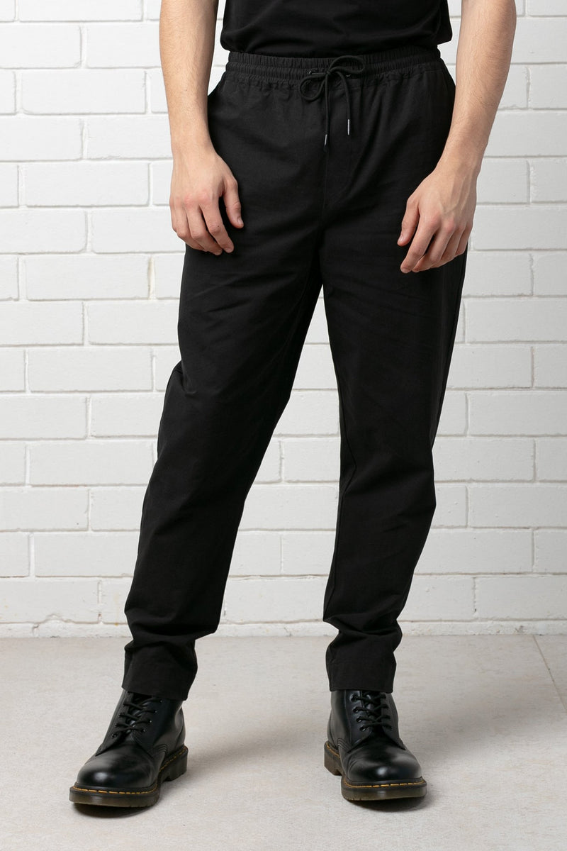 BLACK OKABE ELASTICISED WAIST TAILORED PANT
