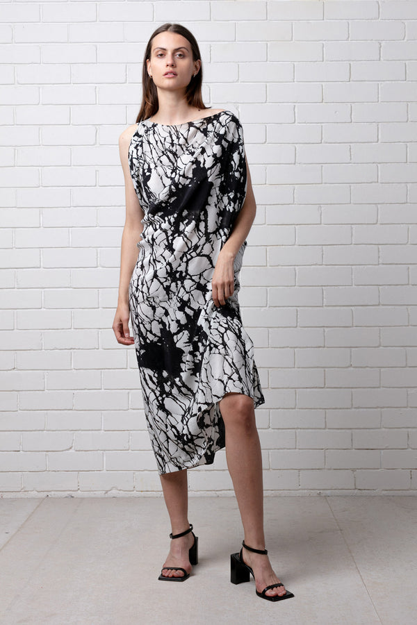 Back White Reformation Print Silk Dress