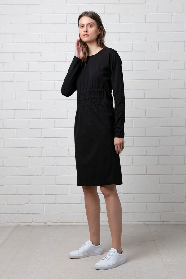 INK ROUCHED COTTON DRESS