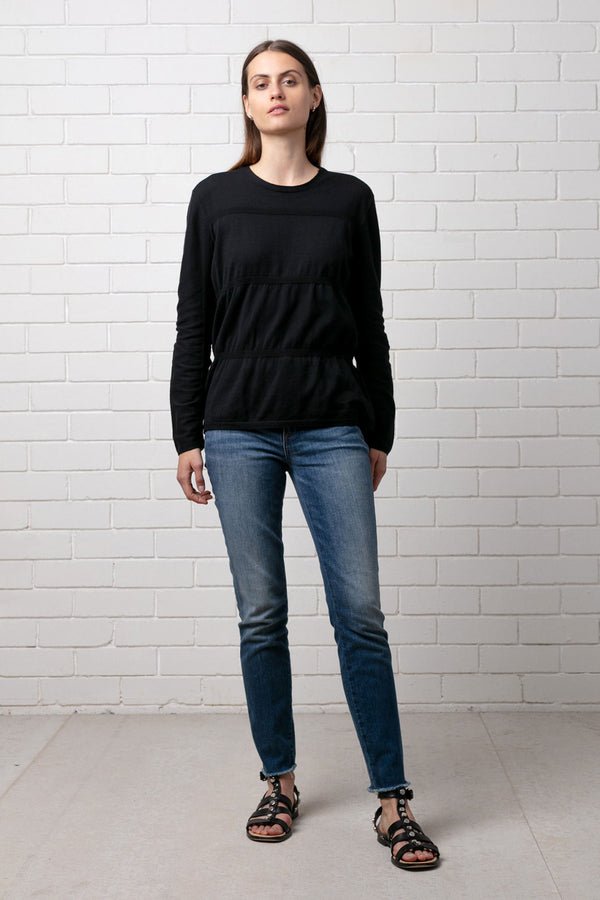 Black Rouched Cotton Knit Long Sleeve Top