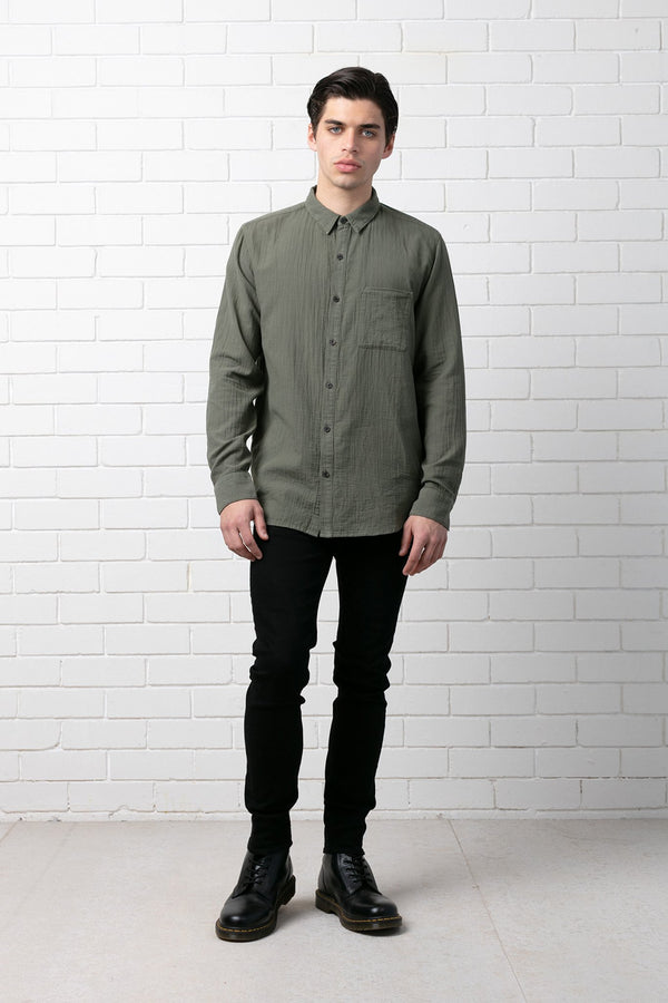 KHAKI SUIREN COTTON SHIRT - Nique Clothing