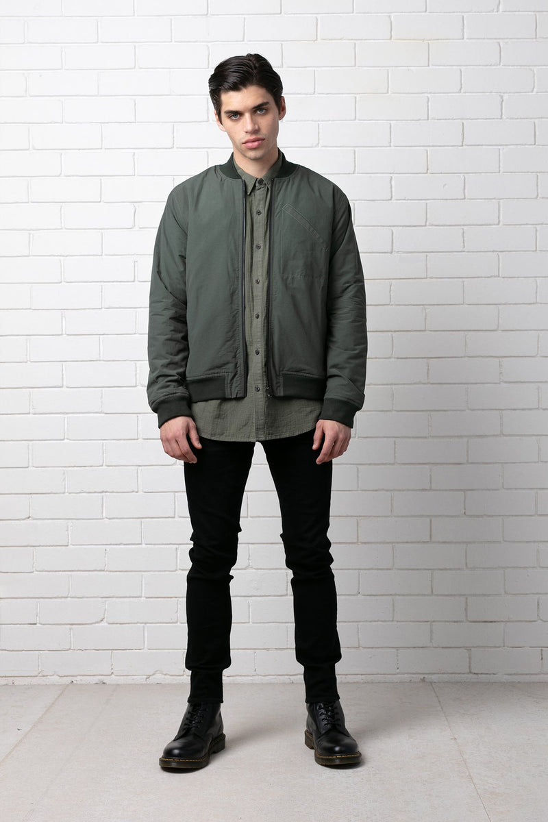 DARK KHAKI YANAGI BOMBER JACKET - Nique Clothing