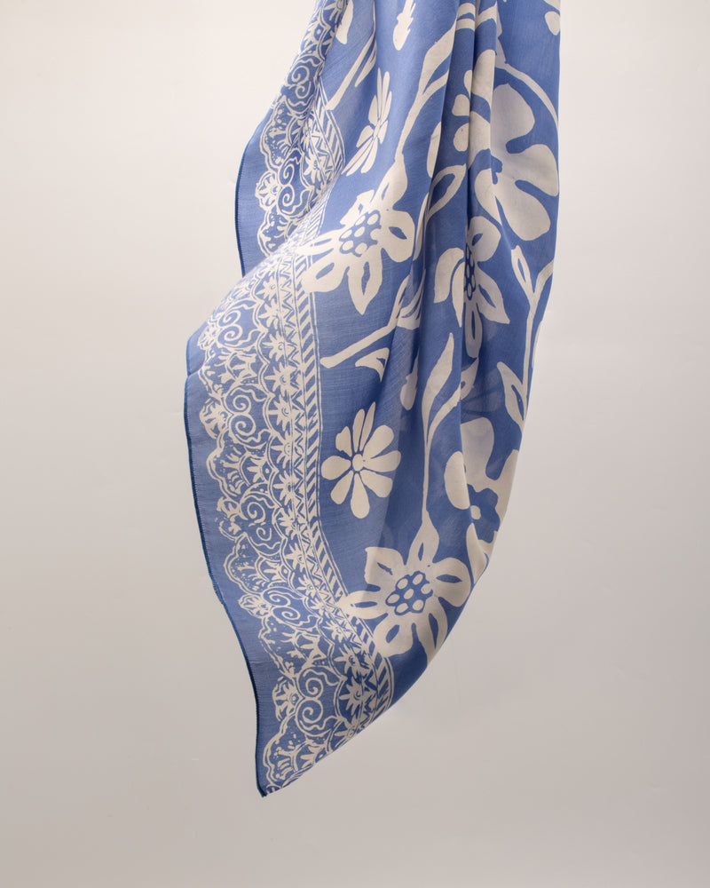 Botanical print cornflower blue silk sarong and scarf