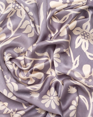 Botanical print grey silk sarong and scarf
