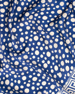 Geometric print blue silk sarong and scarf