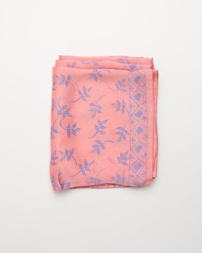Botanical print pink silk sarong and scarf