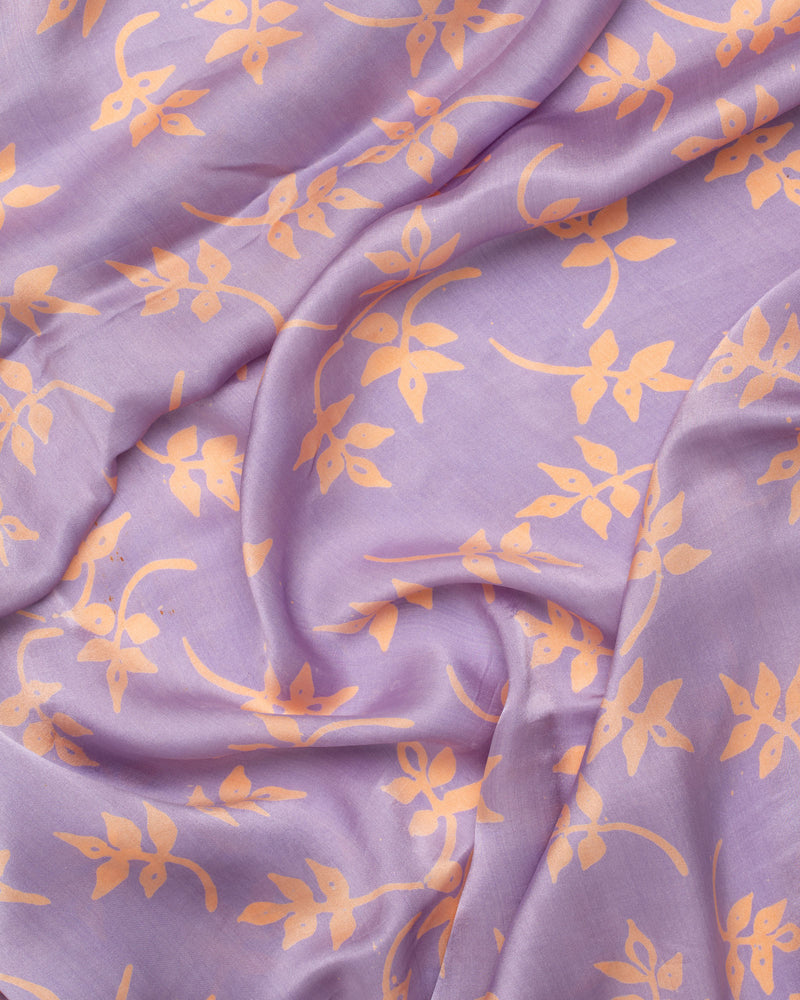 Botanical print lavender silk sarong and scarf