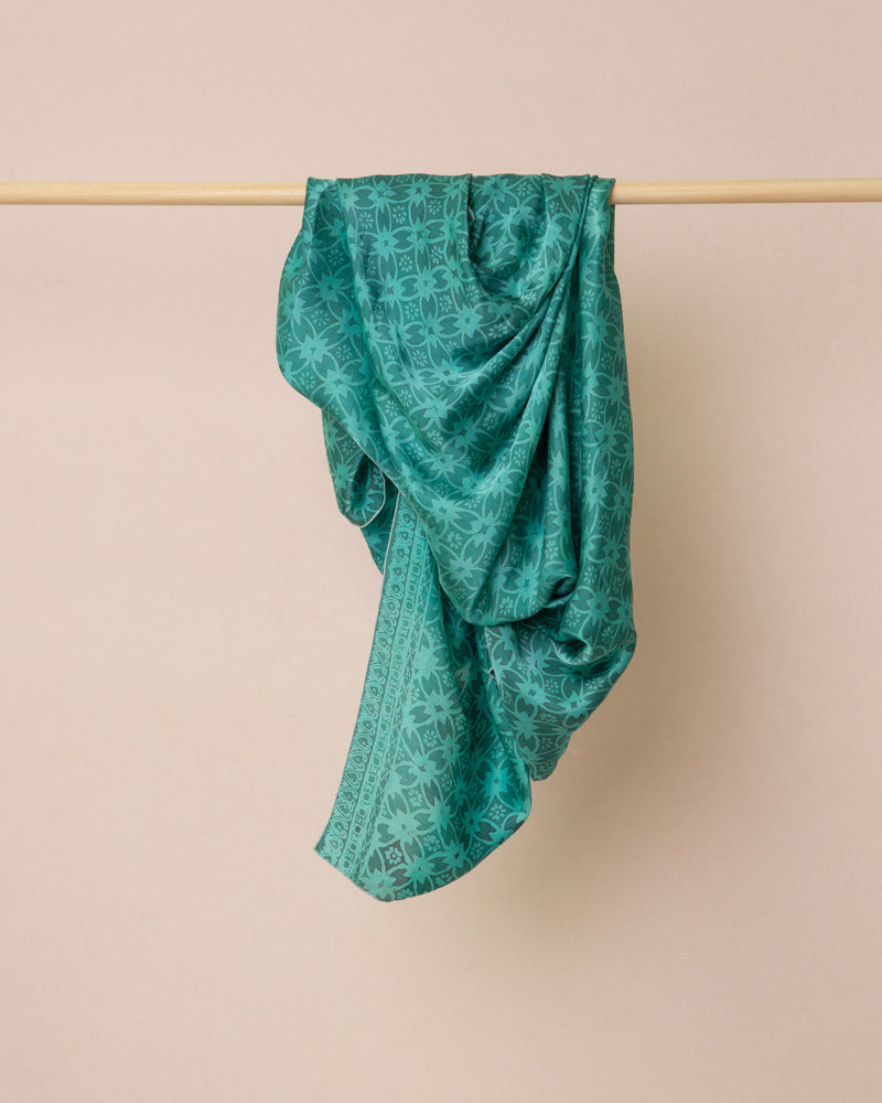 Geometric print turquoise silk sarong and scarf