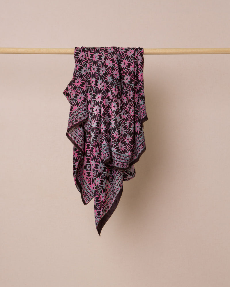 Geometric print black and pink silk sarong and scarf