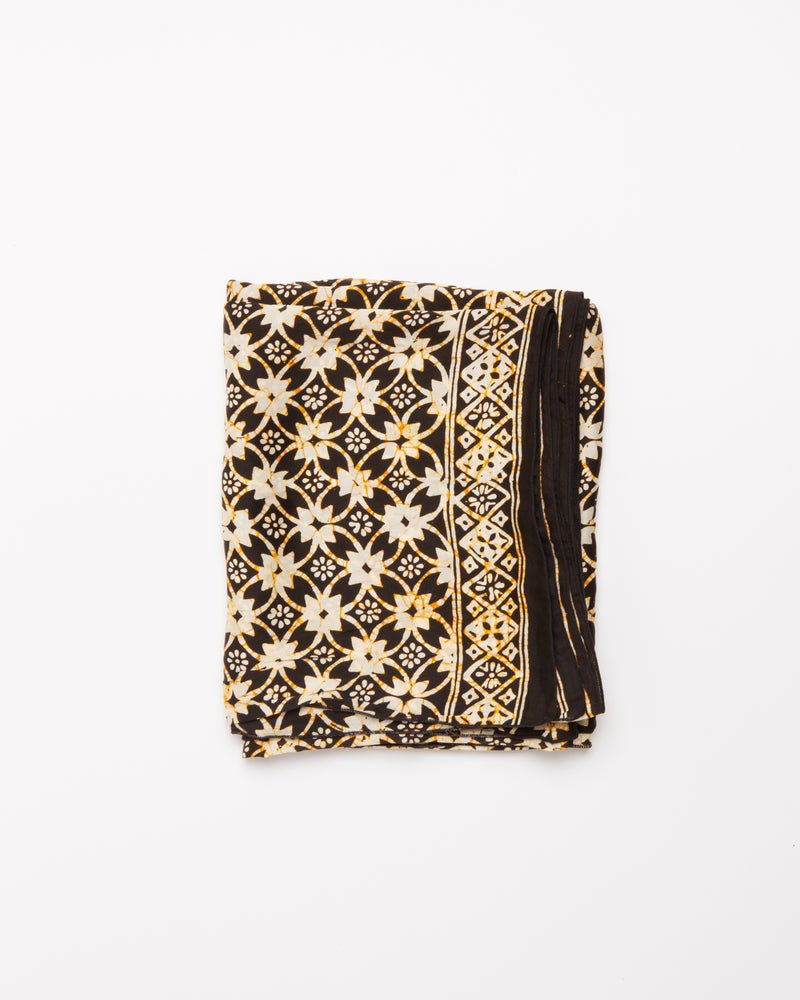 Geometric print black and gold silk sarong and scarf