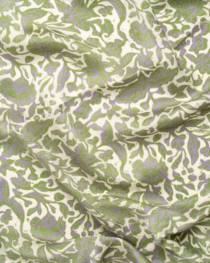 Botanical print green silk sarong and scarf