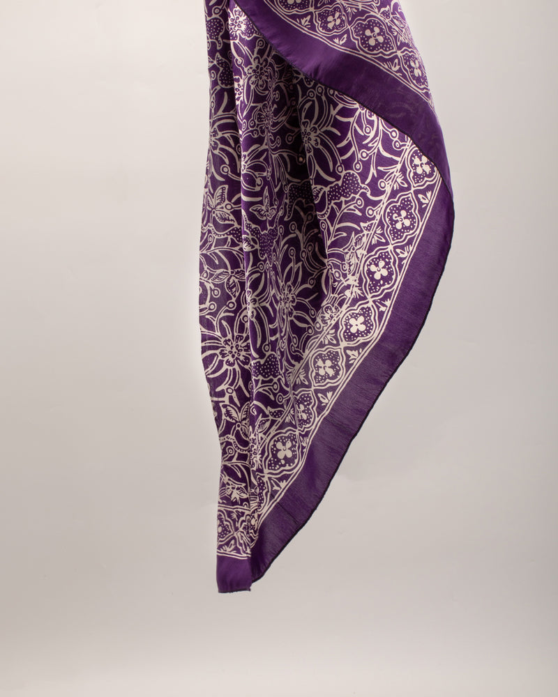 Purple flower print silk sarong and scarf
