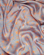 Blue and apricot silk sarong and scarf