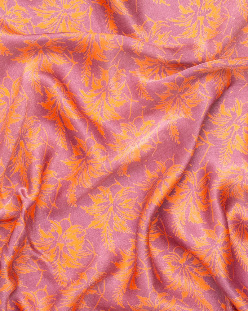 Pink flower print silk sarong and scarf