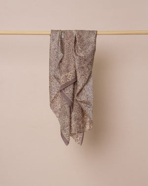 Grey flower print silk sarong and scarf