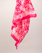 Ginger flower print pink silk sarong and scarf