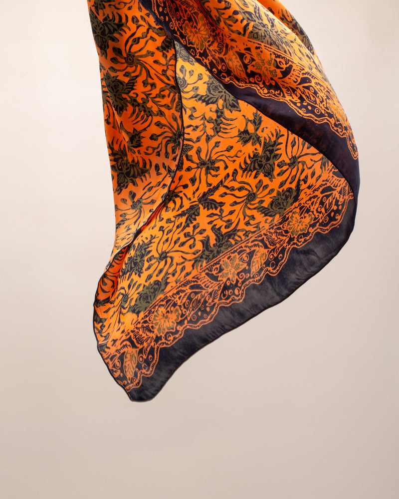 Orange flower print silk sarong and scarf