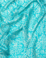 Turquoise blue flower print silk sarong and scarf