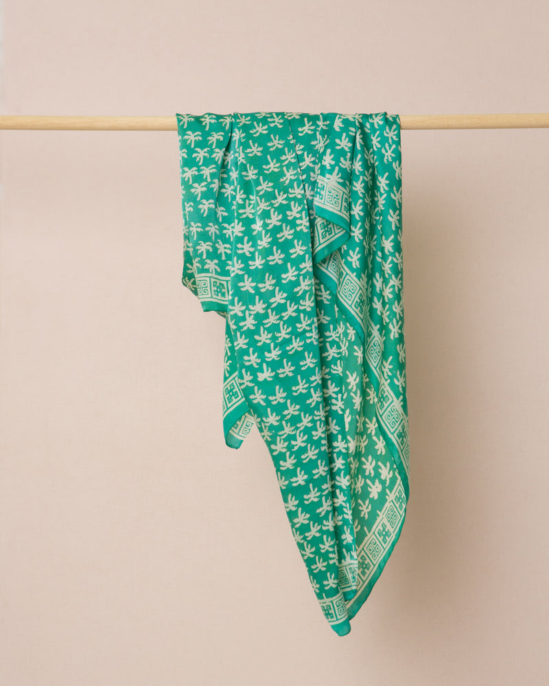 Turquoise green palm print silk sarong and scarf