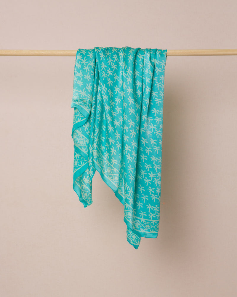 Turquoise palm print silk sarong and scarf