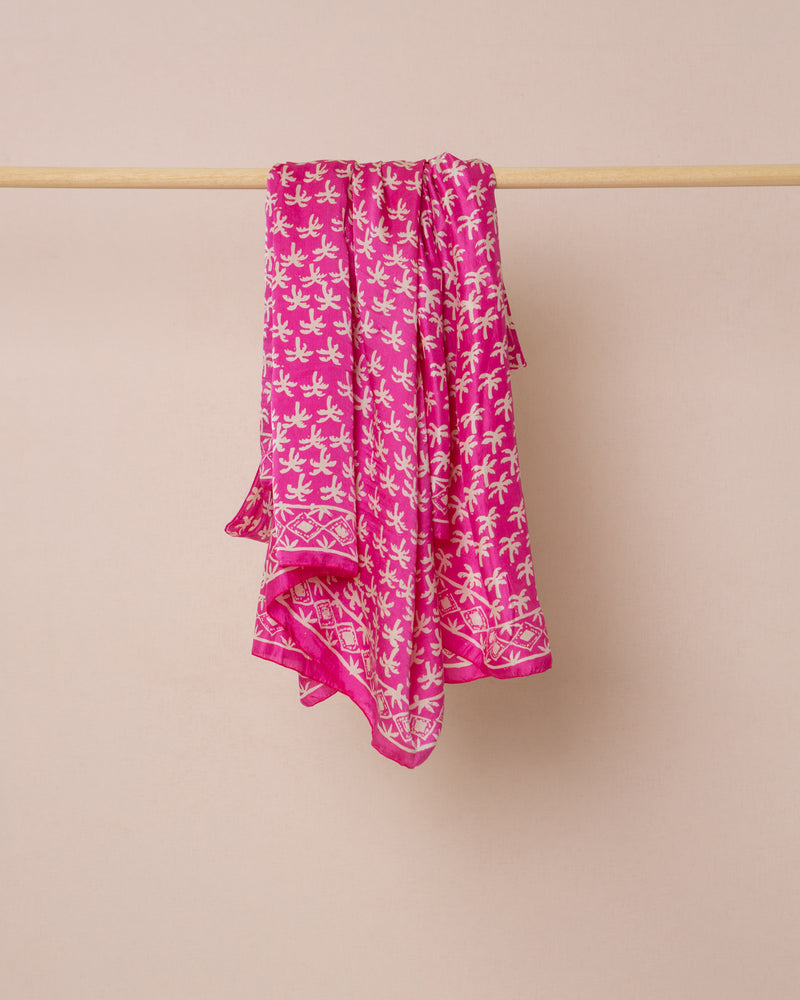 Pink palm print silk sarong and scarf