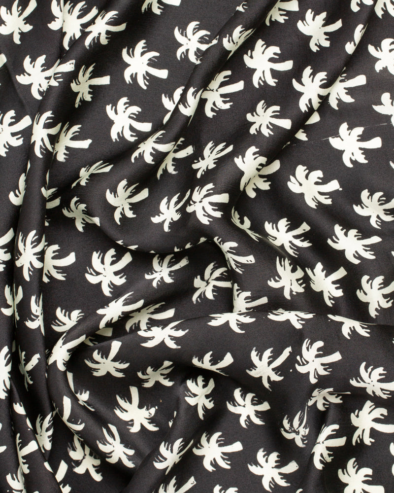 Black palm print silk sarong and scarf