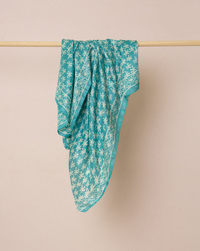 Blue palm print silk sarong and scarf