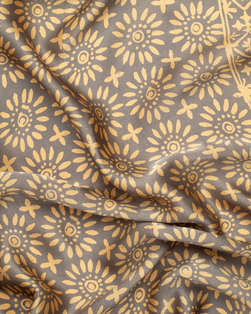 Geometric print grey and gold silk sarong and scarf