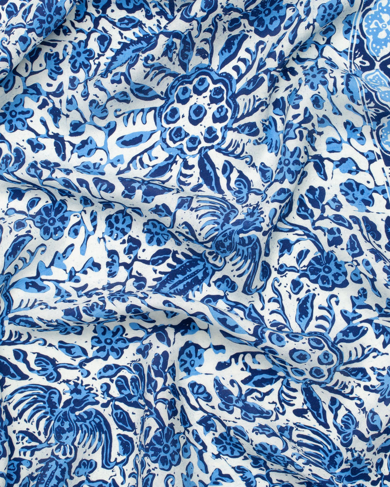 Blue flower print silk sarong and scarf