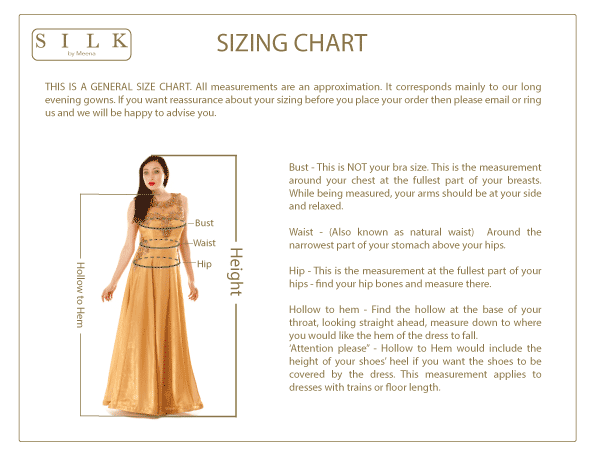 SILK By Meena - Size Guide