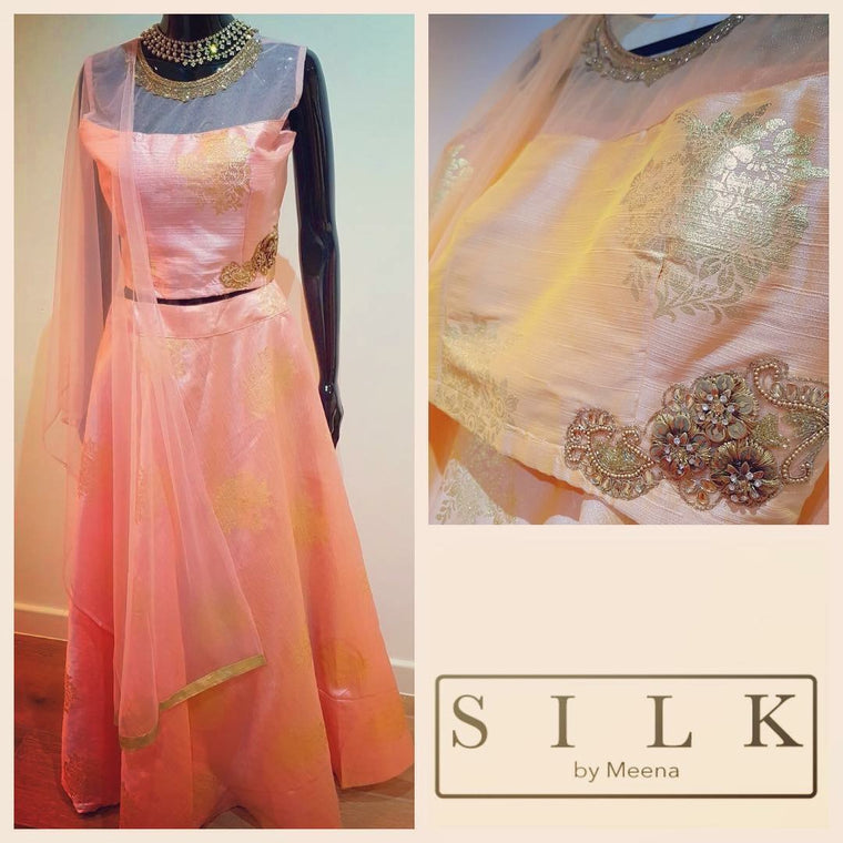 Peach silk lengha