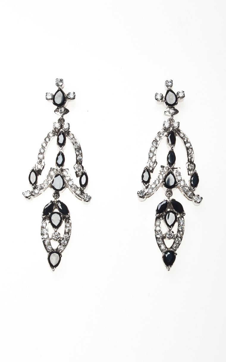 American Diamond dangling earrings with black stone