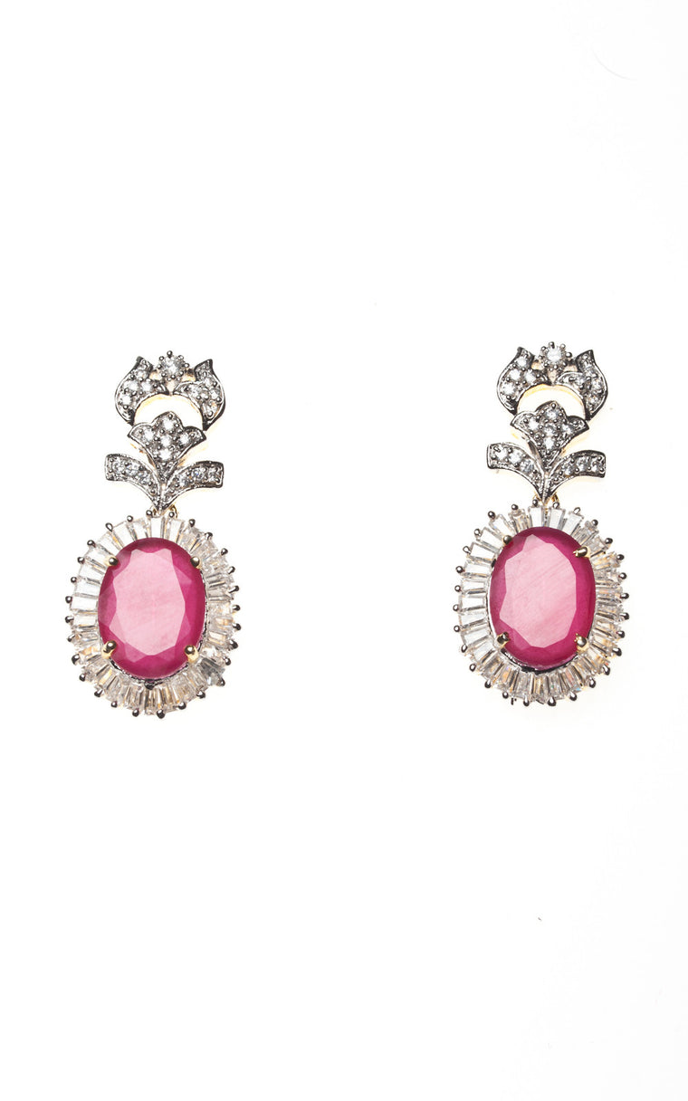 American Diamond Earrings Pink Stone