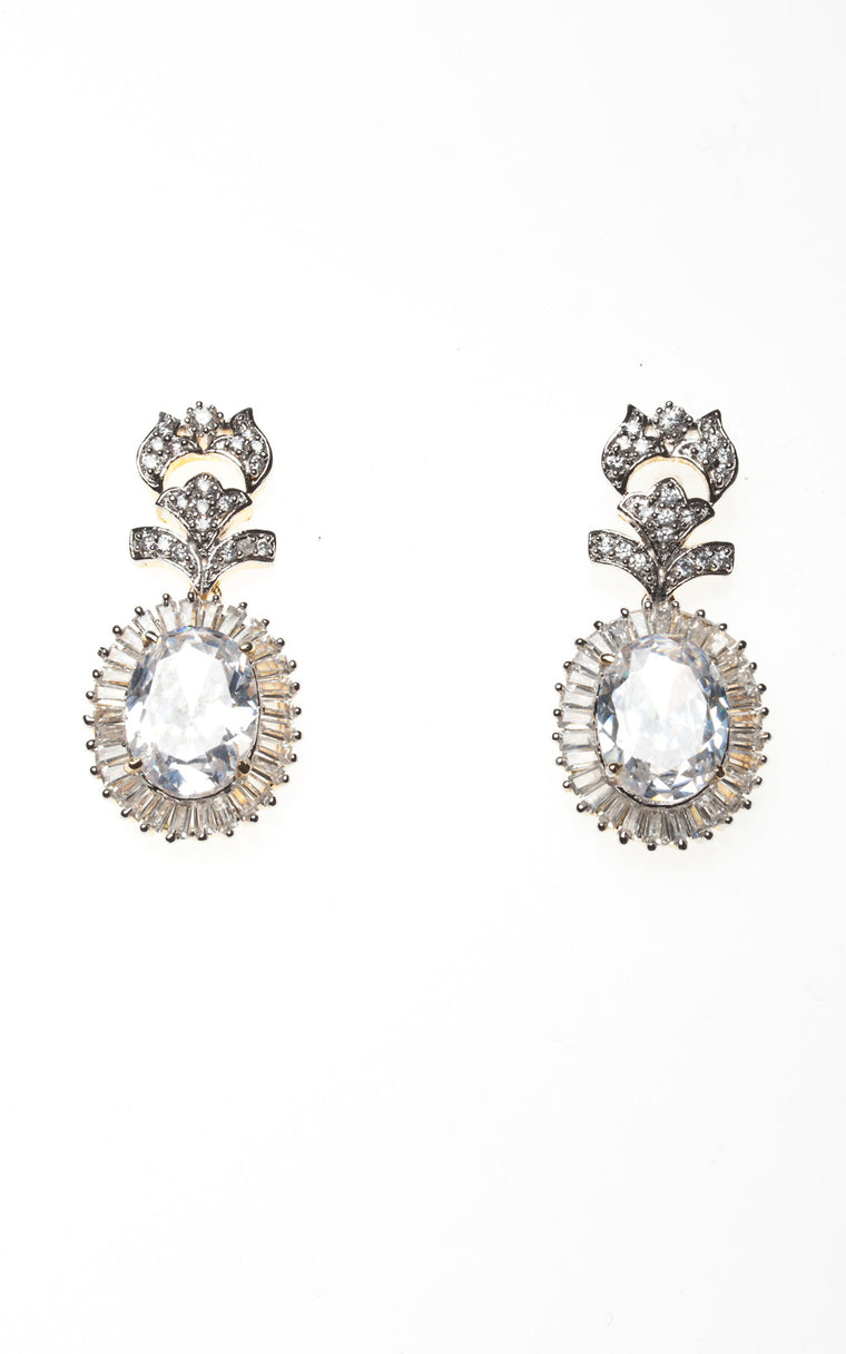 American Diamond earrings with silver stone