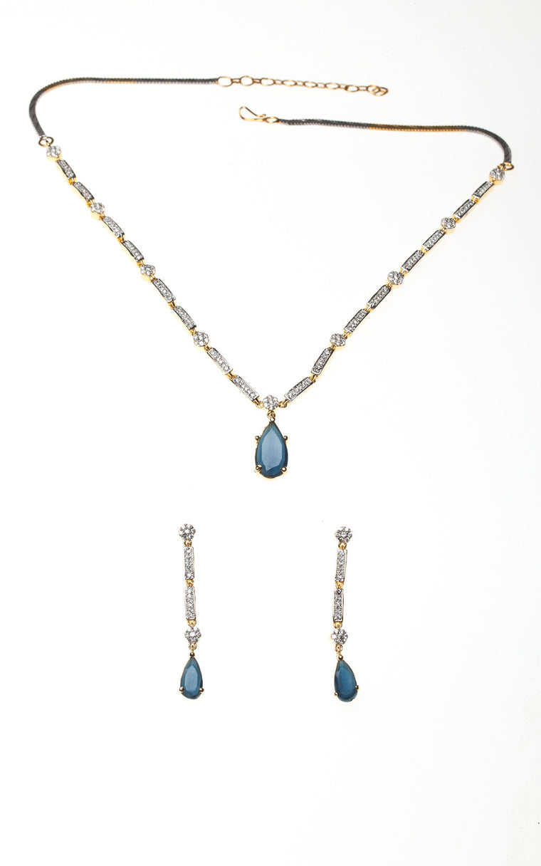 An American Diamond delicate blue teardrop necklace with dangling earrings