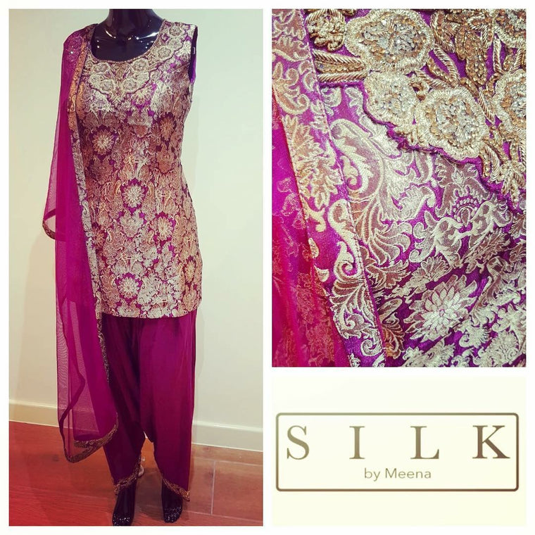 Brocade plum suit