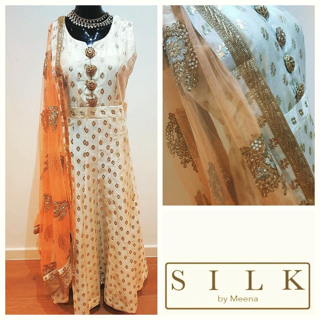 Cream and gold foil print anarkali