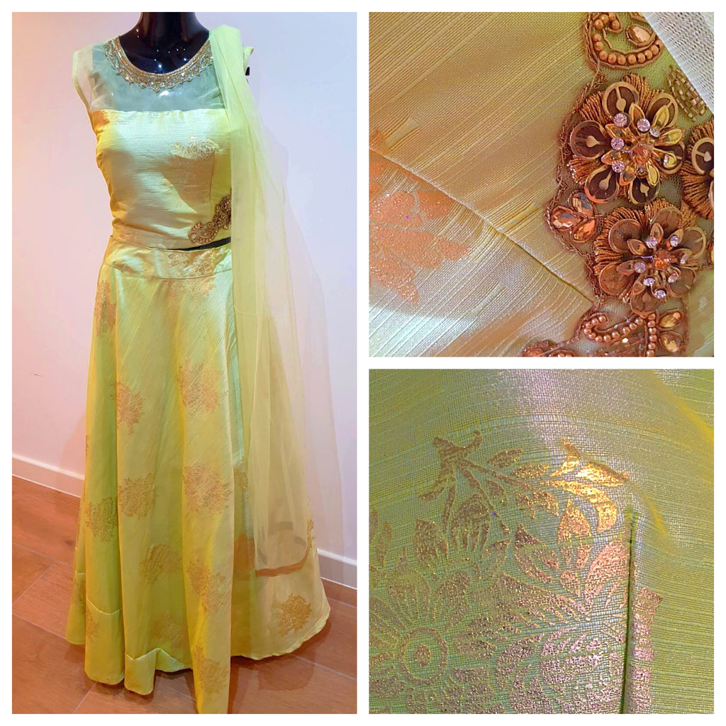 Green silk lengha