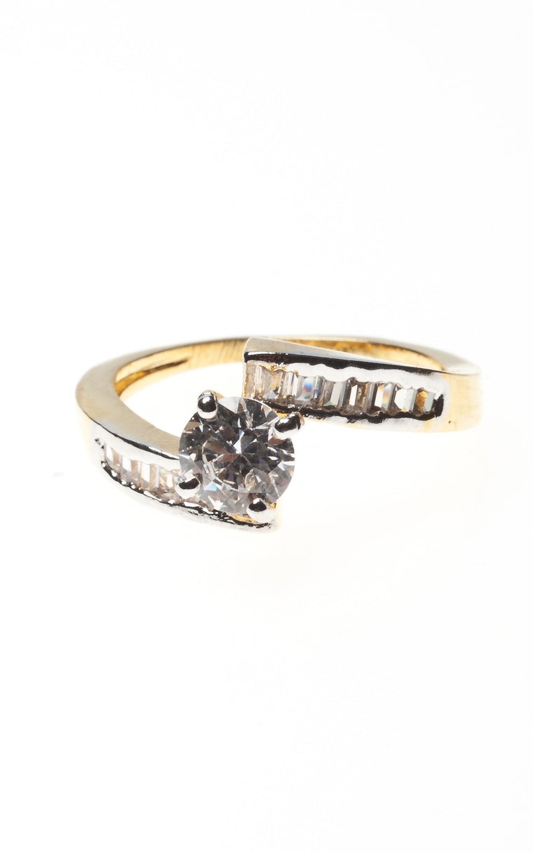 Diamante Solitaire Ring