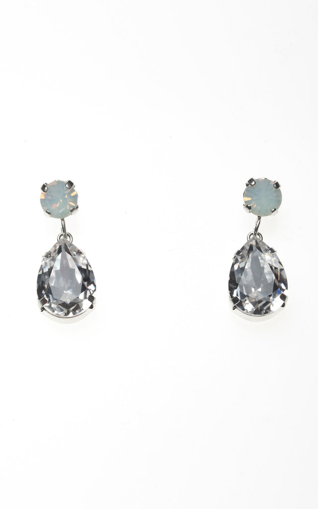 Droplet earrings with opal stud and clear diamond drop