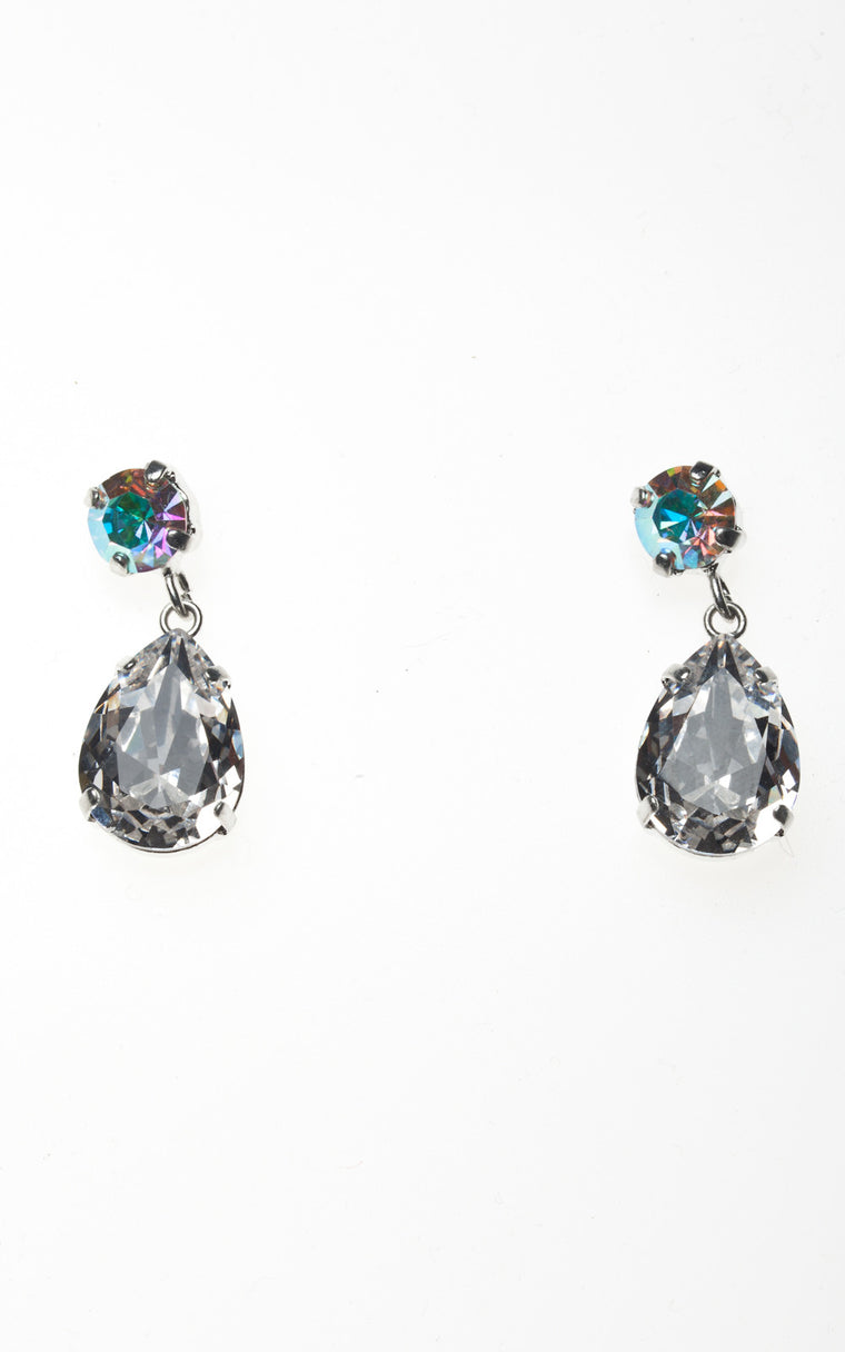 Droplet earrings with rainbow stud and clear diamond drop