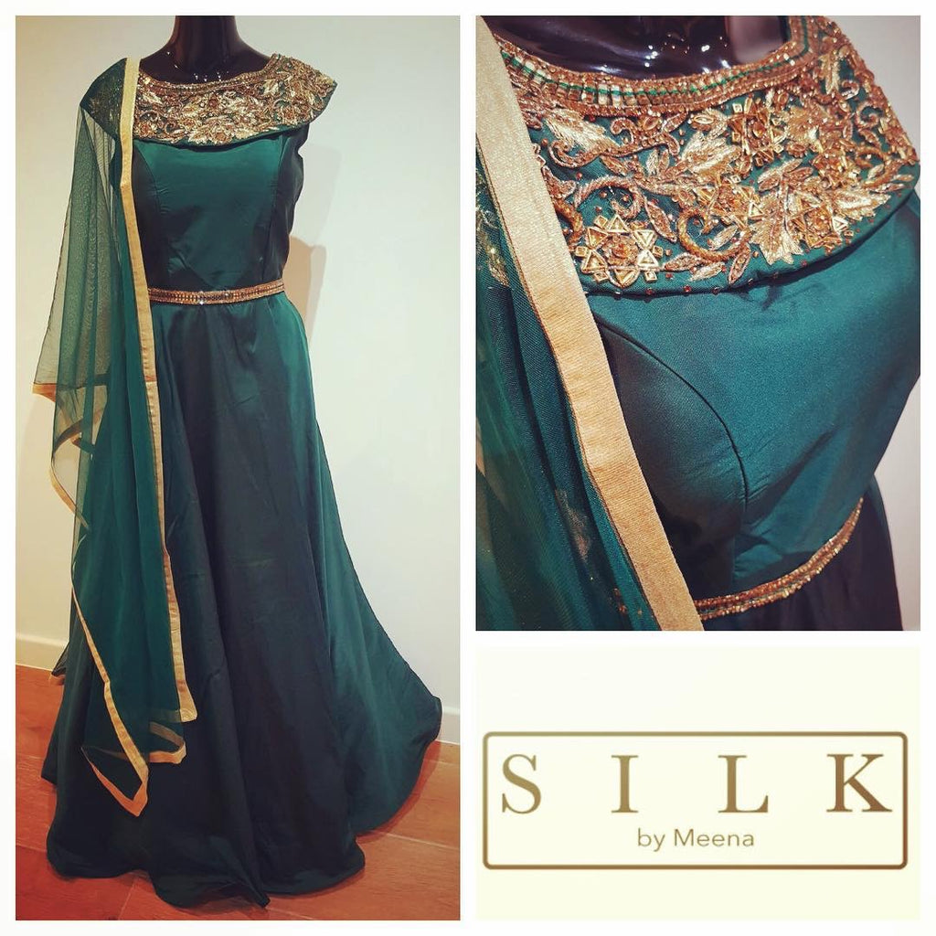 Green gown- gold embroidery