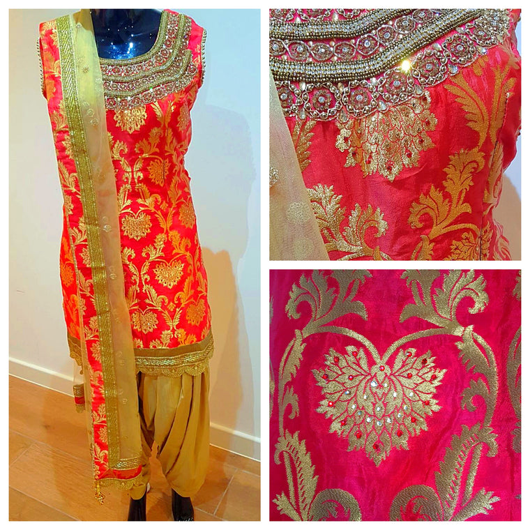 Silk red and gold salwaar suit
