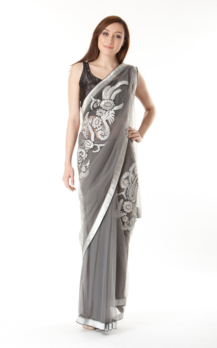 Embellished Metallic Silk Saree