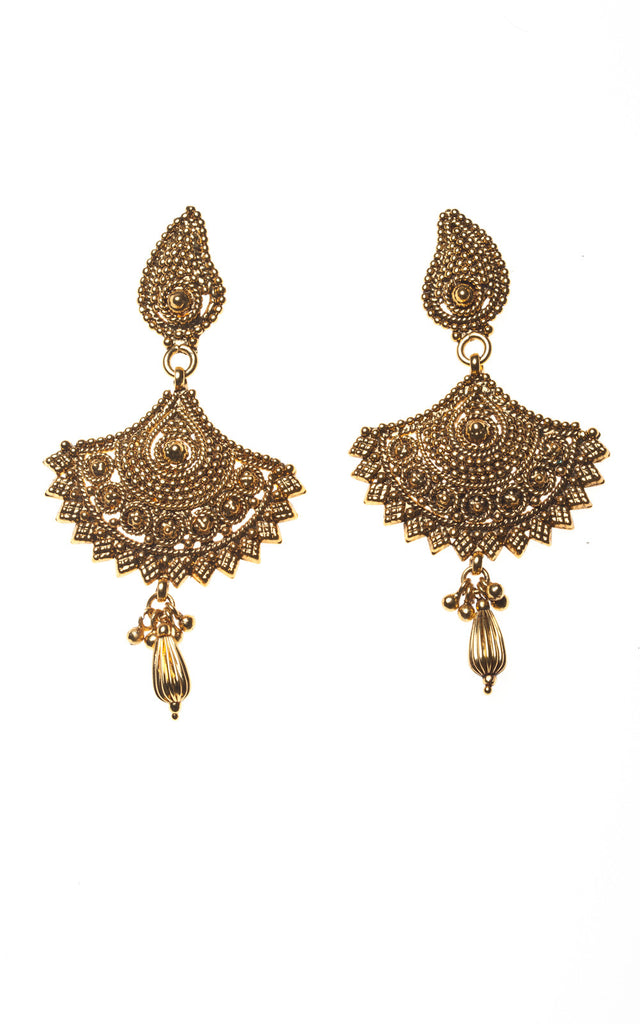 Fan shaped antique gold earrings