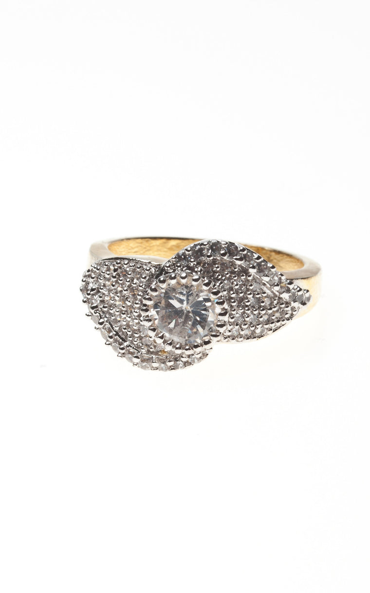 Gold band with Silver and Diamante Detail