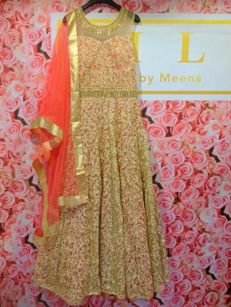 Heavy anarkali with crystal neck and belt work