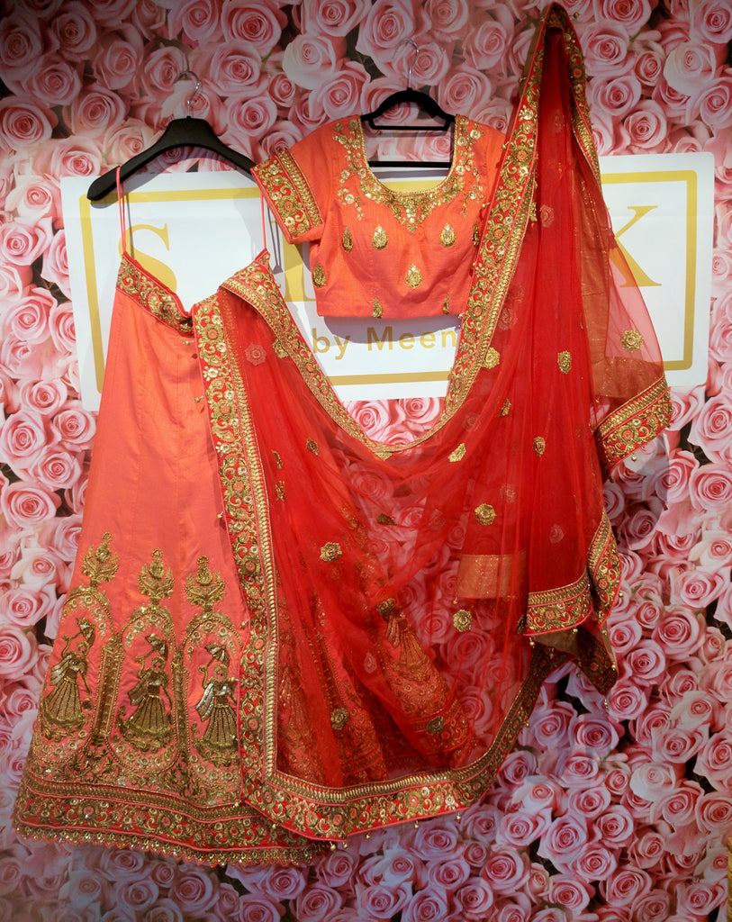 Peach and red bridal lengha